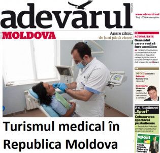 The article in the newspaper Adevarul about the first dental tourism company of Moldova