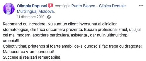 Aprecierea Olimpiei despre clinica stomatologică Punto Bianco