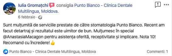 Impresiile Iuliei după tratamentul stomatologic în clinica Punto Bianco