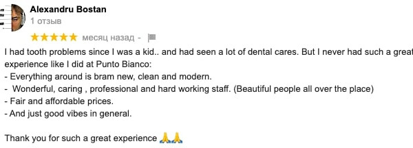 Alexandru's reviewon Google about his dental care at Punto Bianco