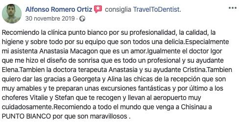 La opinion de Alfonso sobre el equipo en la clinica dental de Moldavia