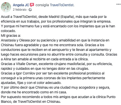 La opinion de Angela sobre la clinica dental Punto Bianco