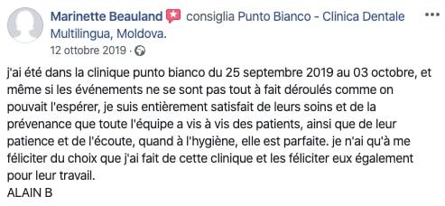 La recension du patient apres les soins dentaires en Moldavie