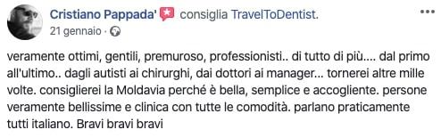 La recensione di Cristiano sullo staff della clinica dentale