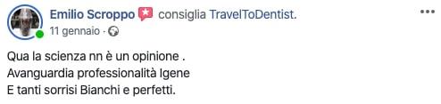 Le parole di Emilio sulla clinica dentale Punto Bianco