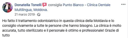 L'opinione di Donatella sul trattamento odontoiatrico presso Punto Bianco