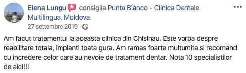 Recenzia Elenei despre clinica dentara Punto Bianco