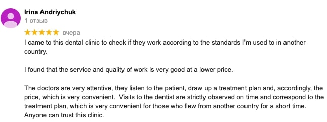 Our patient's review about dental clinic in Moldova
