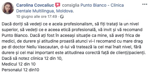 Recenzia lăsată de Carolina cu privire la experiența dentară la Punto Bianco