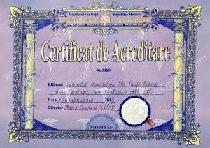 Certificat d'accréditation