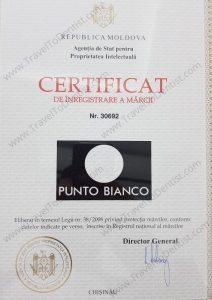 trademark certificate Punto Bianco