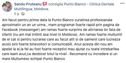 Părerea sinceră a lui Sandu despre clinica Punto Bianco