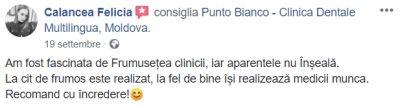 Recenzia Feliciei despre clinica dentară din Chișinău