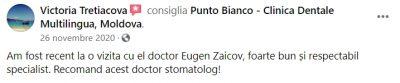 Recenzia unei paciente mulțumite de profesionalismul specialiștilor de la Punto Bianco